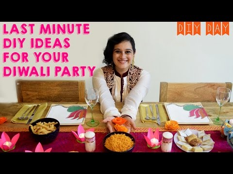 DIY Diwali Party Decor Ideas | Lotus Flower Diya, Mehendi Art Candles, Paper Marigold Flowers