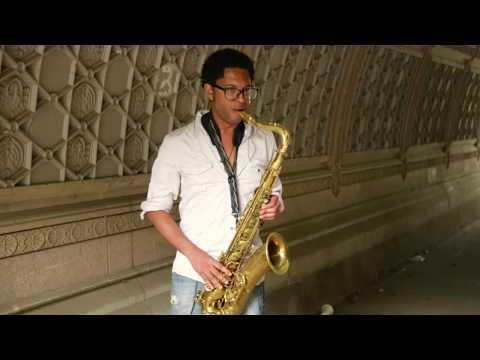 Aaron Burnett - solo tenor saxophone - in Prospect Park, Brooklyn