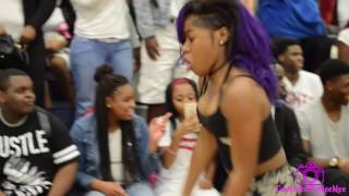 "@atl.bre performs a snippet of her new song ""Go Ed(work)"" @Columbia High School"