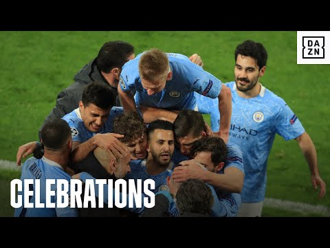 Pep Guardiola and Manchester City Celebrate Making The UCL Semi-Finals