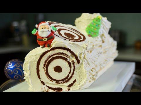 Recette b che de no l nutella chocolat et meringue crou - Herve cuisine buche de noel ...