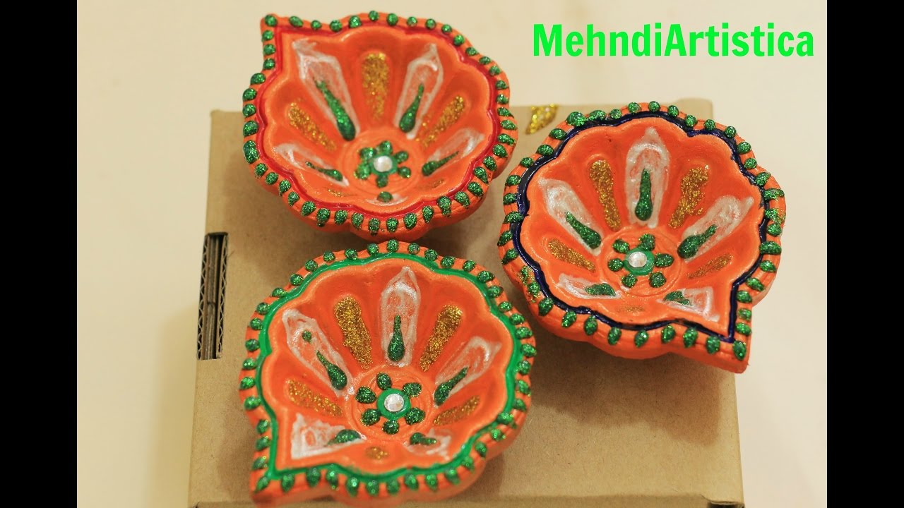 Diy easy beautiful diya decoration idea decorate diwali for Diya decoration youtube