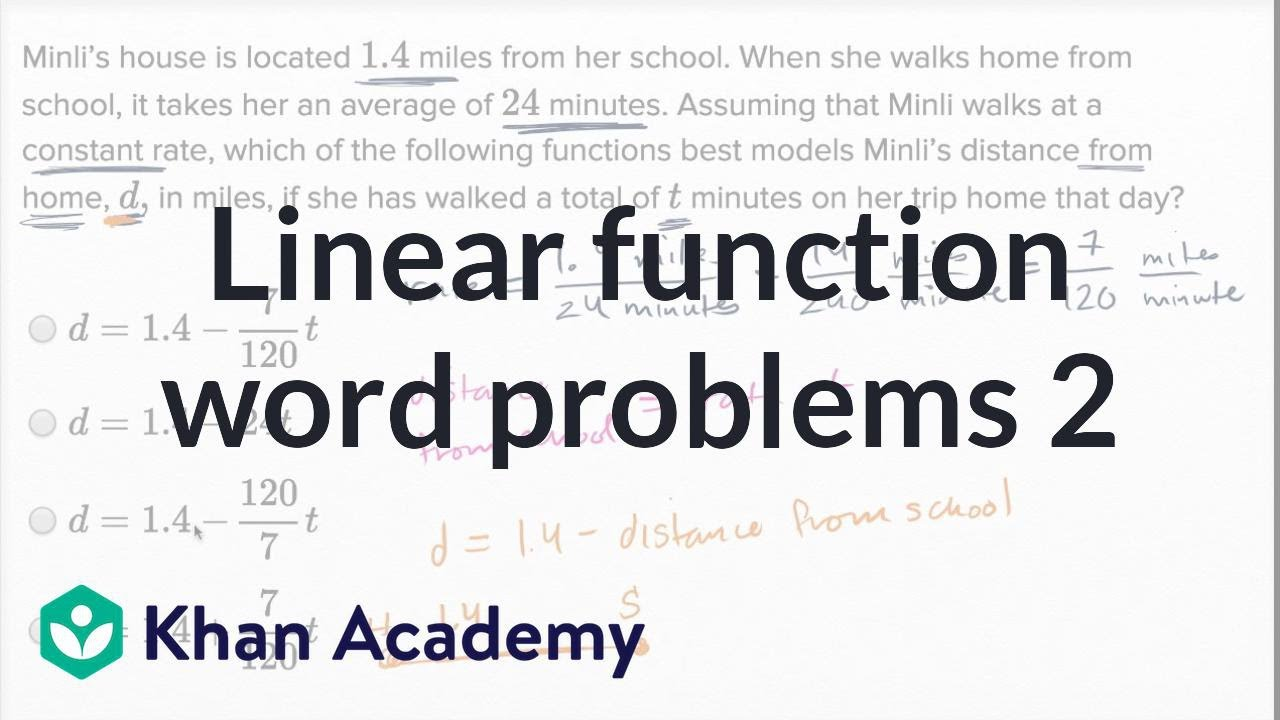 worksheet Linear Function Word Problems Worksheet linear function word problems harder example math new sat khan academy