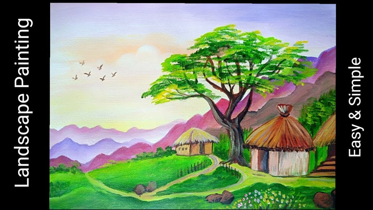 easy & beautiful landscape painting
