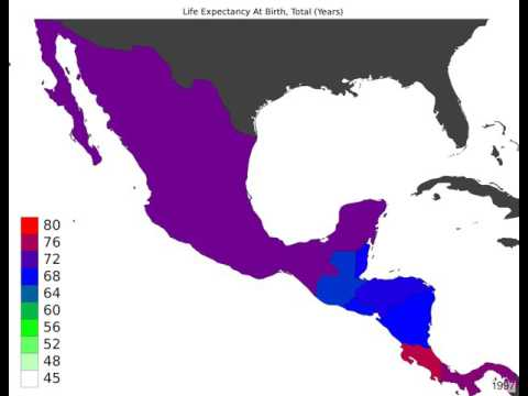 Central America - Life Expectancy At Birth, Total - Time Lapse