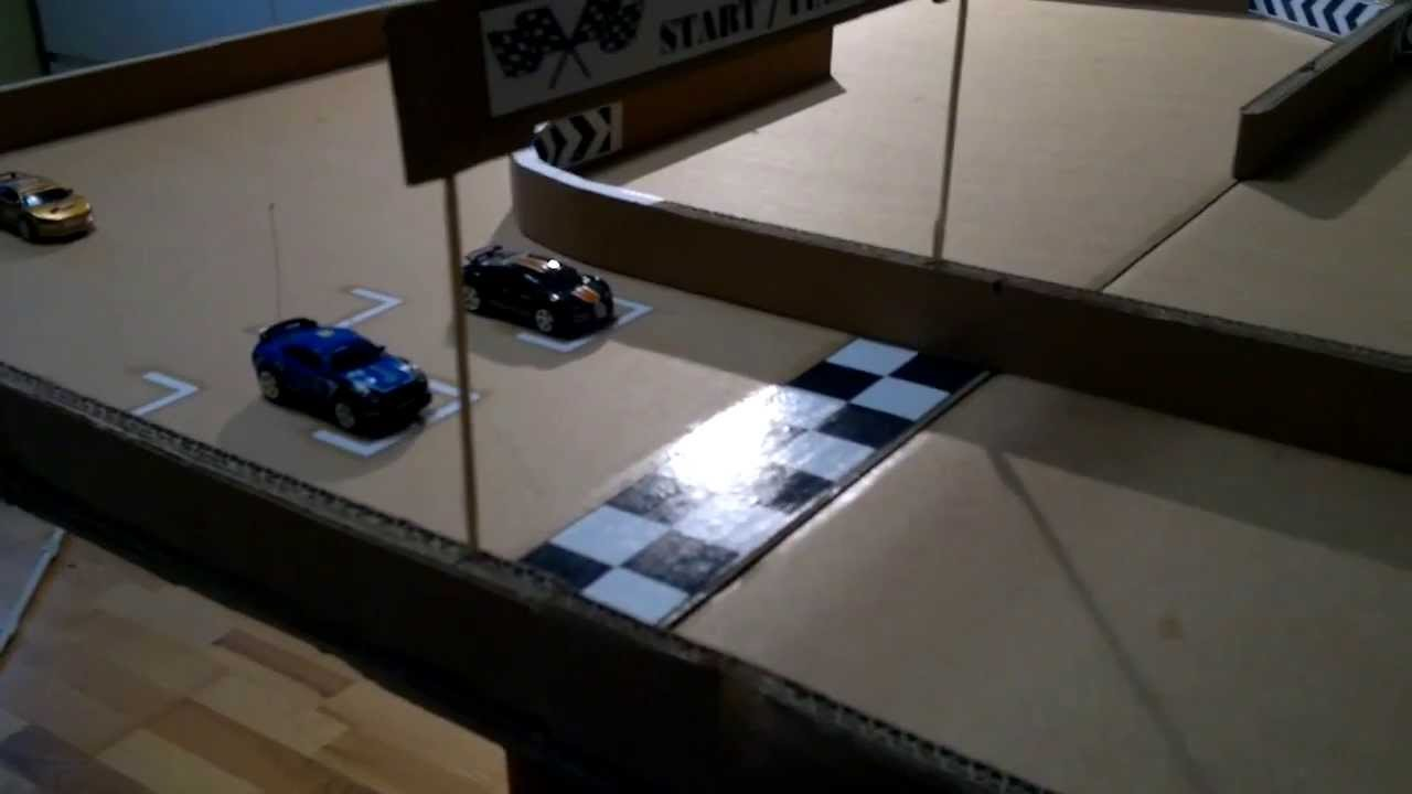 micro coke can car RC racing home made track from ...
