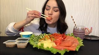 MUKBANG | Trout fillet | Филе форели и свежие овощи | не ASMR (salmon)