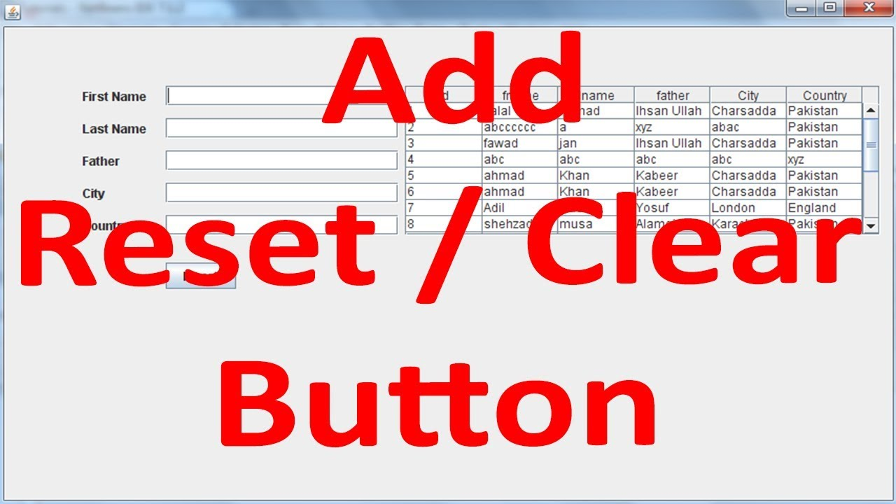 Java SWING #09 - Reset/Clear Button in Java Netbeans