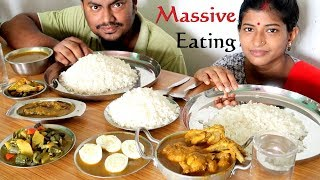 Massive Indian Food Eating - Chicken Curry, Fish Curry, Egg Curry, Veg Curry, Parwal Fry with Rice