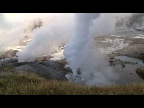 Norris Geyser Basin - Steam Eruption Fall 2009 - Yellowstone Supervolcano