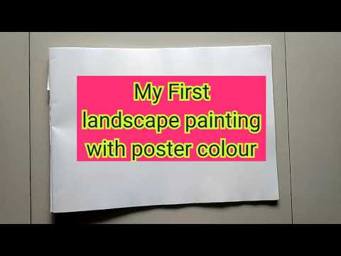 My First Landscape painting with poster colours // Very Beautiful ////Aarya's Creations