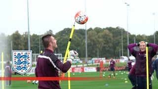 England's Gk Coach Bursts Ball On Spike   Inside Training