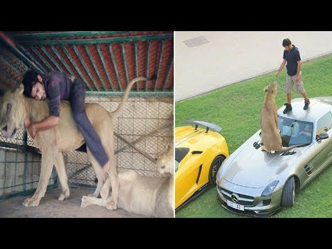 Mega-wealthy Arab men are accessorising their supercars with lions and cheetahs