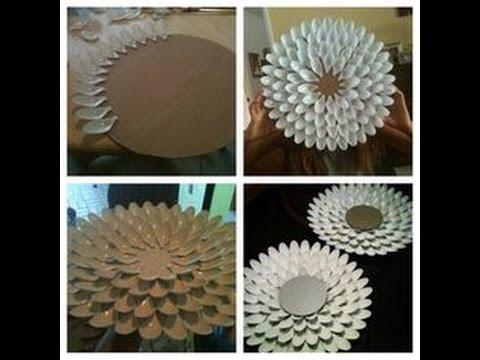 Diy decora tu cuarto o habitaci n espejo con cucharas de pl stico youtube - Espejo de plastico ...