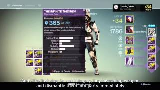 DESTINY - Farmed 1098 Weapon Parts in Two Days, Almost Mad