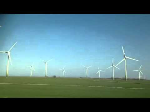 Wind turbines from the train in Denmark.