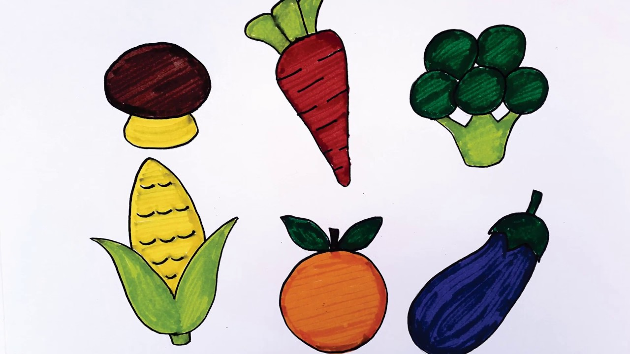 Cara Menggambar Dan Mewarnai Sayur Sayuran Untuk Anak Menggunakan