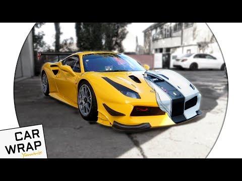 Yellow Ferrari 488 Racing Car wrapped Matte White - the HARDEST wrap!