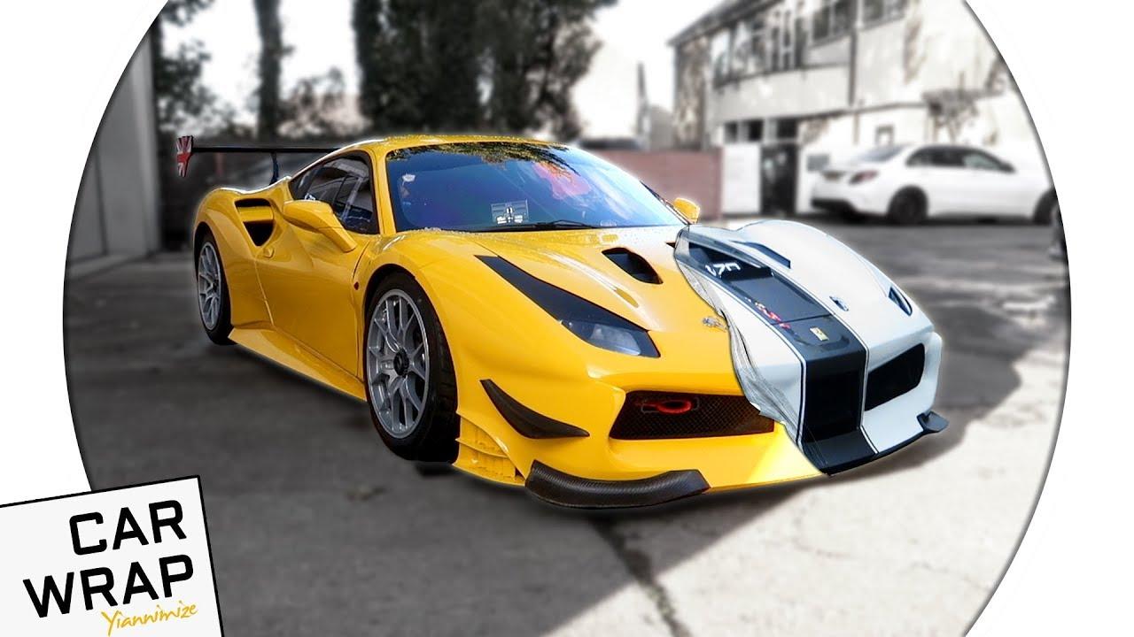Yellow Ferrari 488 Racing Car Wred Matte White The Hardest Wrap