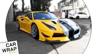yellow ferrari 488 racing car wrapped matte white the hardest wrap