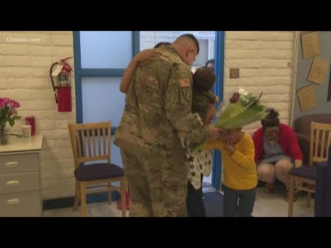 Military dad surprises family at Sacaton Elementary School