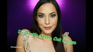 DRAMATIC GREEN CUT CREASE TUTORIAL | NYX PIGMENT IN INSOMNIA