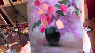 Игорь Сахаров, научиться рисовать маслом цветы, тюльпаны, букет