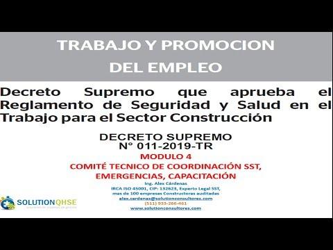 DS N° 011 2019 TR Modulo 4 REGLAMENTO SST PARA EL SECTOR CONTRUCCIÓN