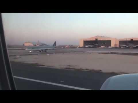 Qatar Airways Flight QR764 - B777-3DZ/ER Landing Doha, Qatar