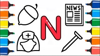 The Letter N | How To Draw and Coloring Pages on ABC Letters for Kids | Alphabet Song Coloring Book