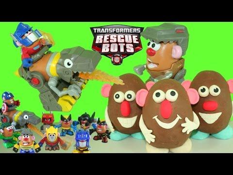 Grimlock And Optimus Prime Mr Potato Head Mixable Mashable Playskool Figure & Play Doh Surprise Eggs