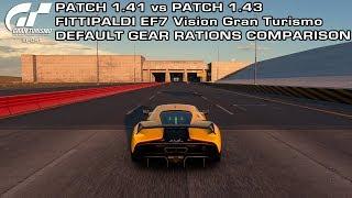 Gran Turismo Sport - Patch 1.41 vs Patch 1.43 - Fittipaldi EF7 VGT Default Gear Ratios Comparison
