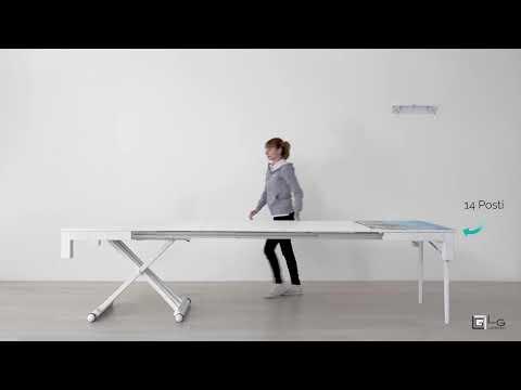 Tavolo Allungabile Lg Lesmo.Tavolo Allungabile 14 Posti Rovere Bianco Lg Lesmo Youtube