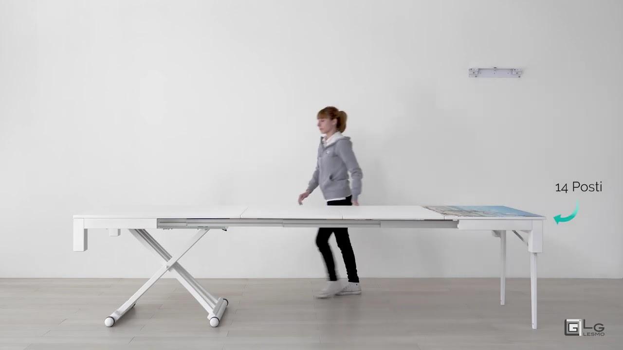Tavoli Per Camper Allungabili.Tavolo Allungabile 14 Posti Rovere Bianco Lg Lesmo Youtube