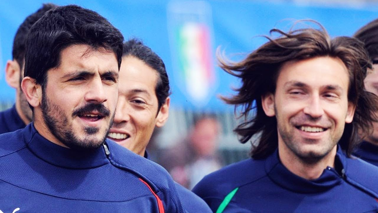 Pirlo staring at Gattuso, thinking about his next prank to play on him