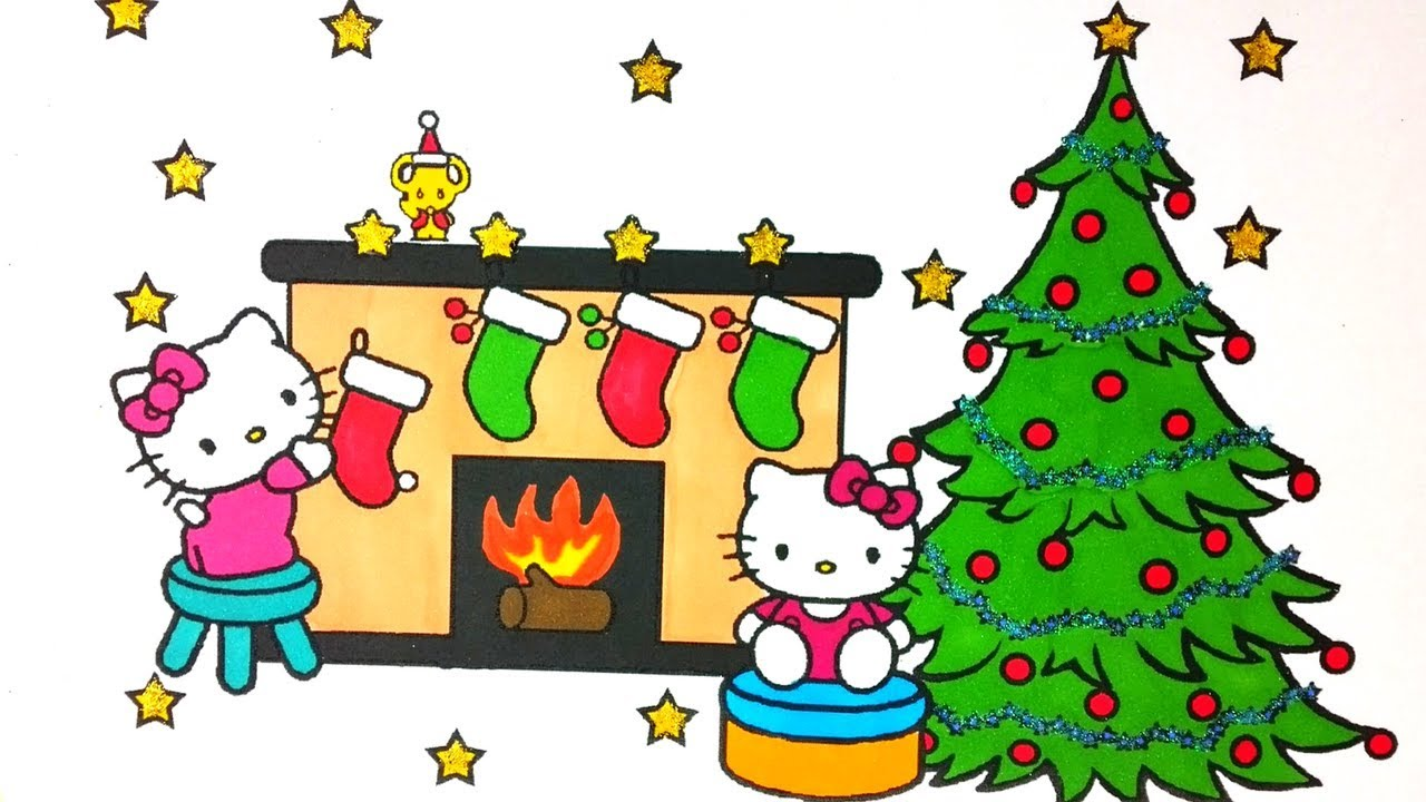 Hello Kitty & Mickey Mouse Christmas Coloring Pages For Kids! - YouTube