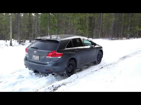 Toyota Venza on winter Forest Service Road