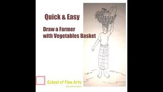 How to Draw Farmer with Vegetables Basket