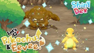 2 SHINY REACTIONS! EPIC CHARMANDER and RANDOM SHINY GRAVELER in POKEMON LET'S GO PIKACHU AND EEVEE!