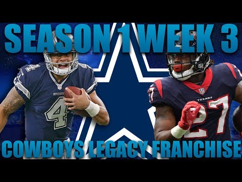 Madden 18 Cowboys Franchise   Legacy League Season 1 Week 3 Can the Rookie Step Up?