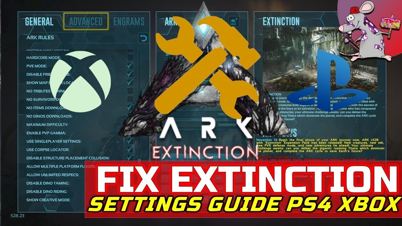 ARK Survival Evolved Extinction Settings Guide! How To Fix/Make Your Game  Easier