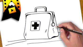 como dibujar un bolso medico | como dibujar un bolso medico paso a paso