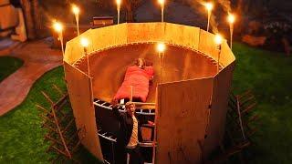 Overnight Challenge In Trampoline Tower Apocalypse Survival Fort