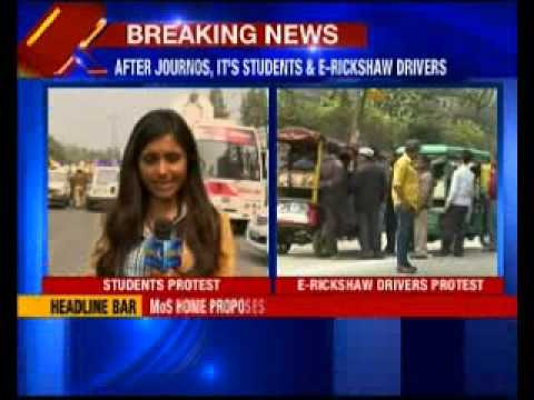 Delhi University students protest outside Delhi Secretariat for evening classes