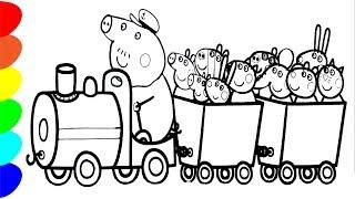 Свинка Пеппа.Паровозик Дедушки. Раскраска. Peppa Pig. Coloring.