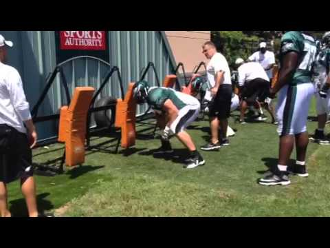Jason Peters blocking sled