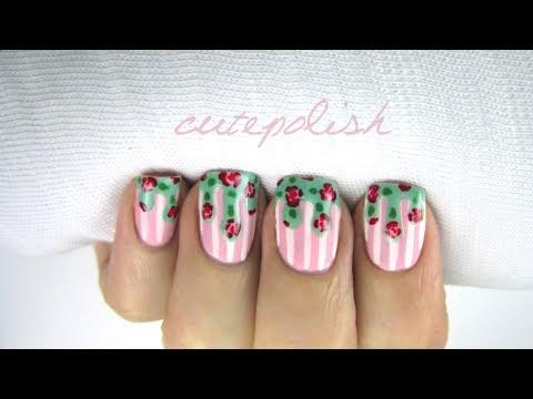 Dripping Floral Nail Art