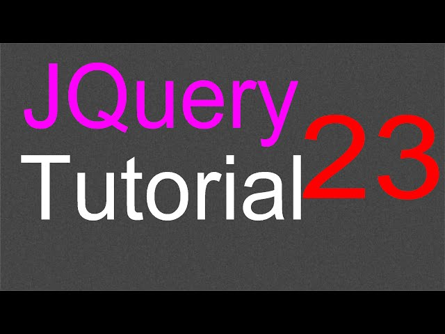 JQuery Tutorial for Beginners - 23 - Slide effects
