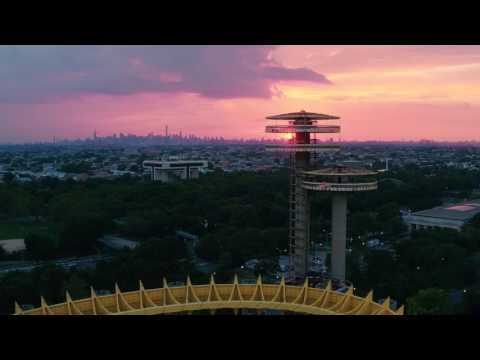 Stunning NYC Sunset from Flushing Meadows Corona Park Queens NY in 4K!   DJI Inspire Pro X5