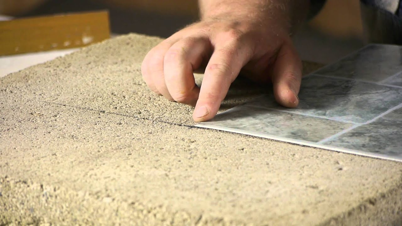 How To Lay Stick Down Vinyl Tiles On Concrete Floors : Flooring Help    YouTube